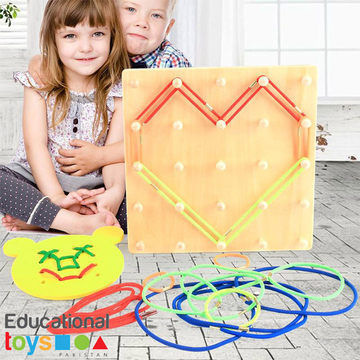 Wooden Geoboard Lacing Toy