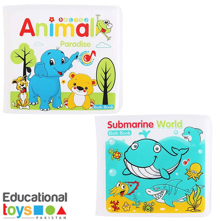 Set of Two Bath Books for Infants (Animals and Submarine world)