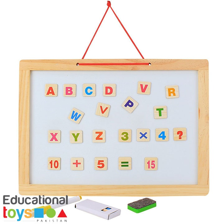 Double Sided Magnetic Whiteboard & Black Slate with Alphanumeric Magnets