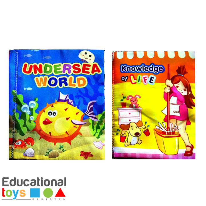 Set of Two Cloth Books for Infants (Undersea World and Knowledge of Life)