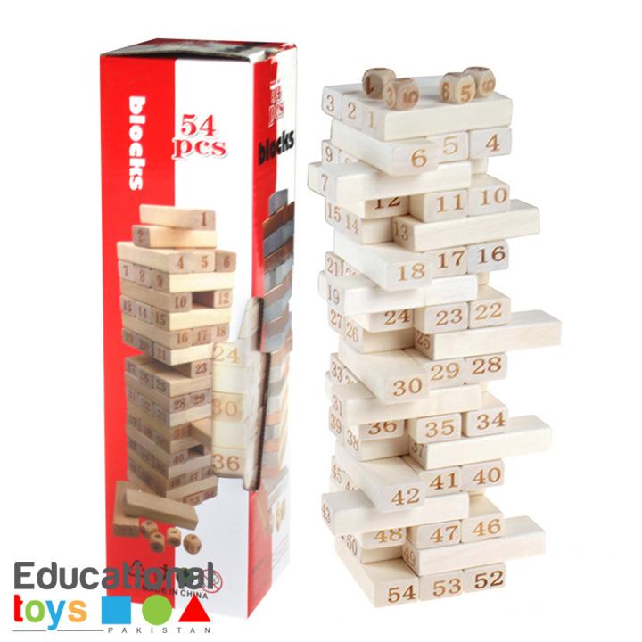 Wooden Stacking Tower (Jenga Blocks) – 54pcs/Pack