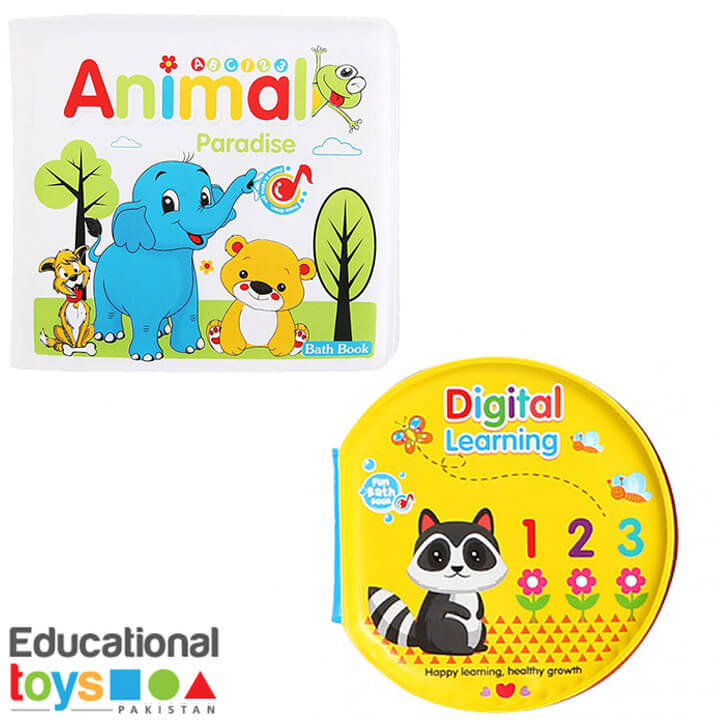 Set of Two Bath Books for Infants (Animals Paradise and Digital Learning)