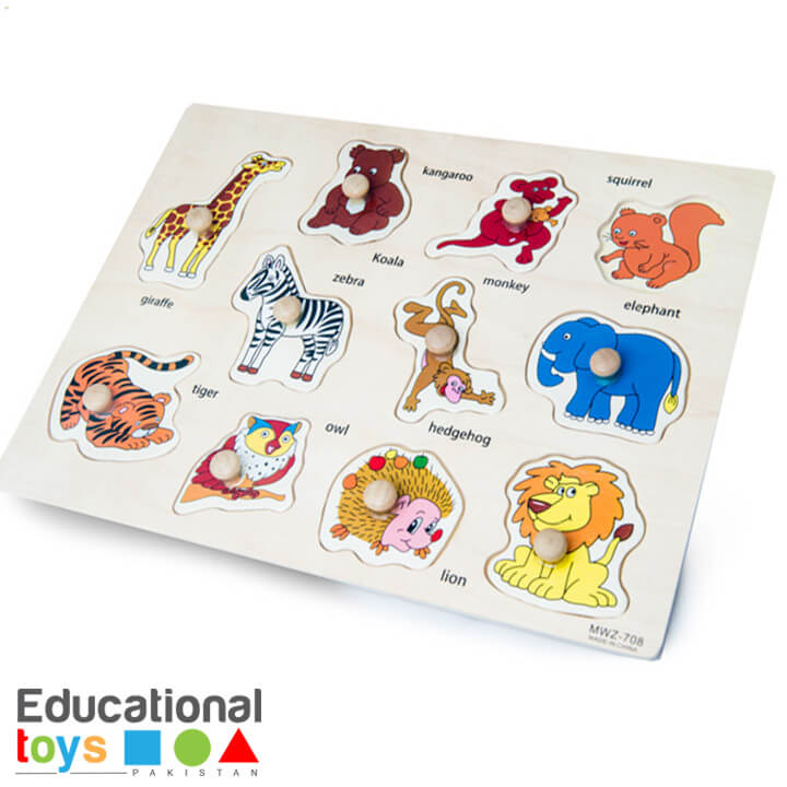 Animal Wooden Peg Puzzle – Printed Board
