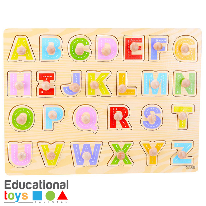 Capital Letters ABC Wooden Peg Puzzle – Printed Board