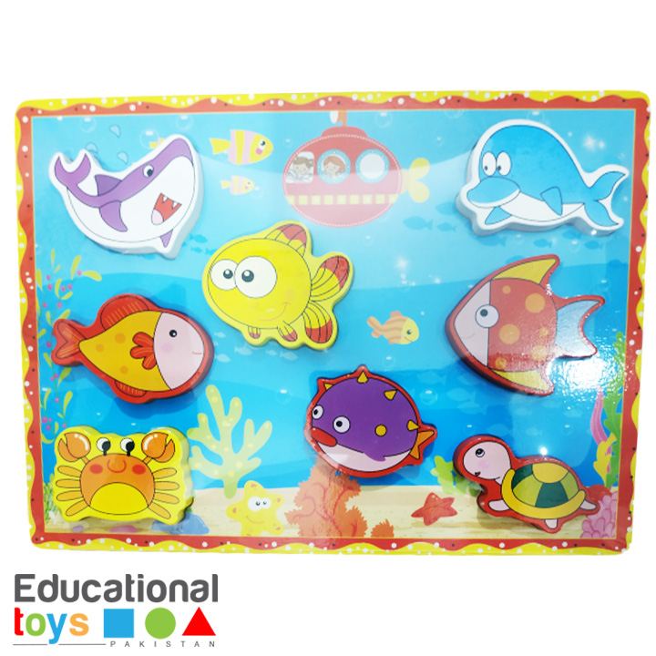 Chunky Sea Animal Wooden Puzzle Board