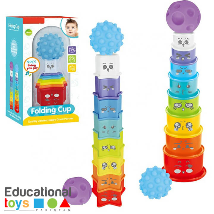 Colorful Stacking Cups with Rubber Ball