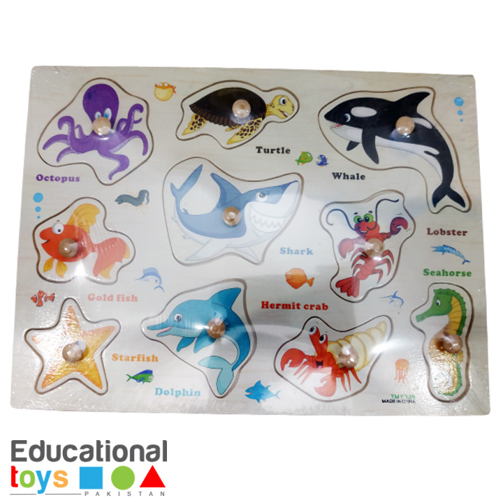 Sea Animal Wooden Peg Puzzle