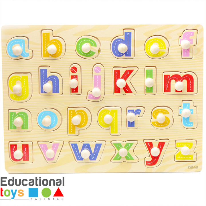 Small Letters ABC Wooden Peg Puzzle – Printed Board