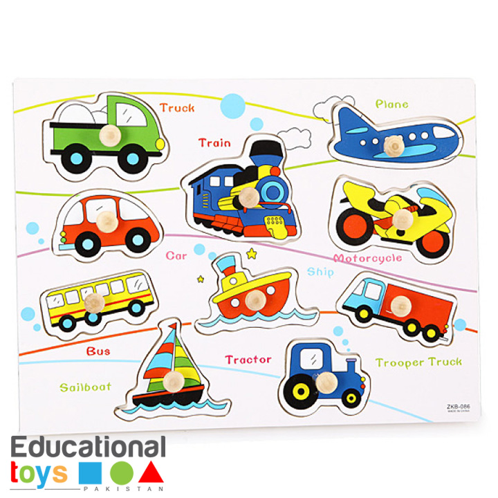 Vehicle Wooden Peg Puzzle – Printed Board