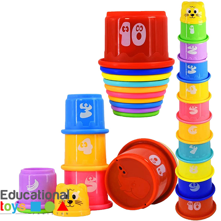 Colorful Stacking Cups with Numbers and Fruit Names