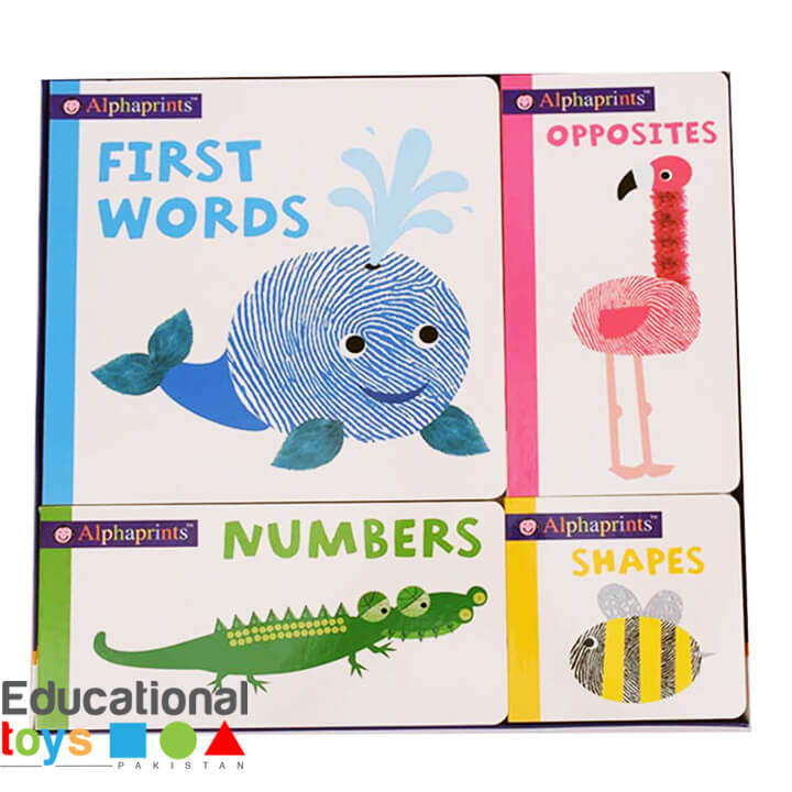 Box of Alphaprints (First Words, Opposites, Numbers and Shapes) – Set of 4 Board Books