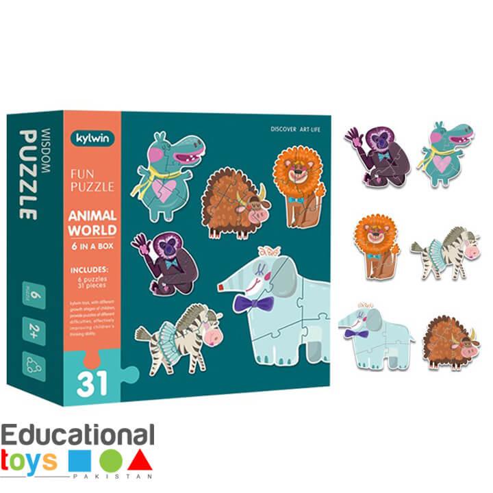 Animal World – 6 Fun Jigsaw Puzzles in a Box – Large