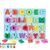 Chunky Wooden Capital Alphabet Puzzle Board - Blue
