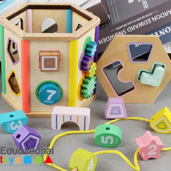 Multifunctional Six Sided Intelligence Box (Shape Sorter and Lacing Activity)
