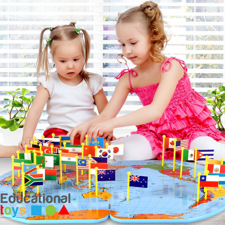 Wooden World Map with Flags – 36 Countries