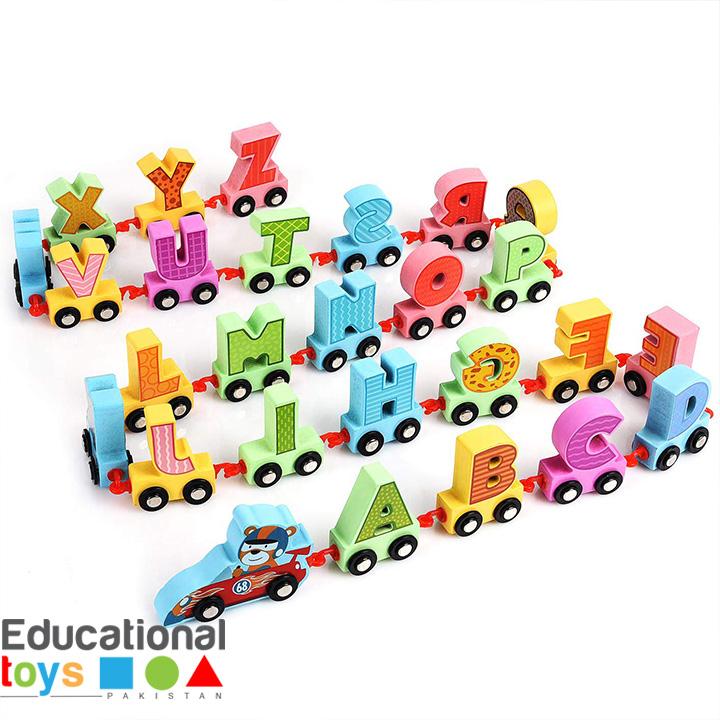 Wooden Alphabet Train (A-Z) – 27 Pieces