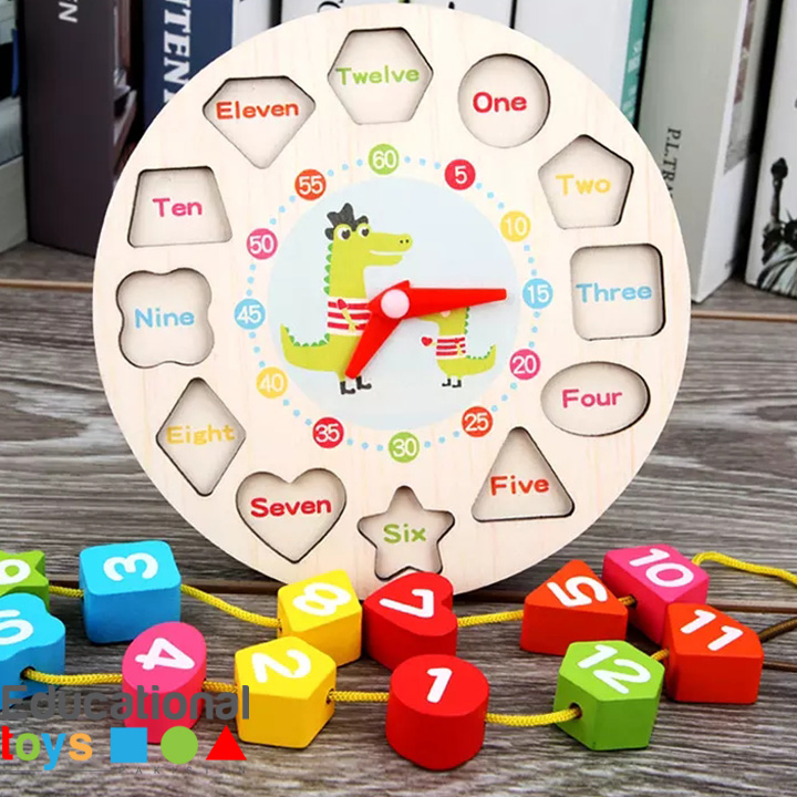 Wooden Learning Clock with Lacing