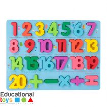 Chunky Wooden Number Puzzle Board - Blue
