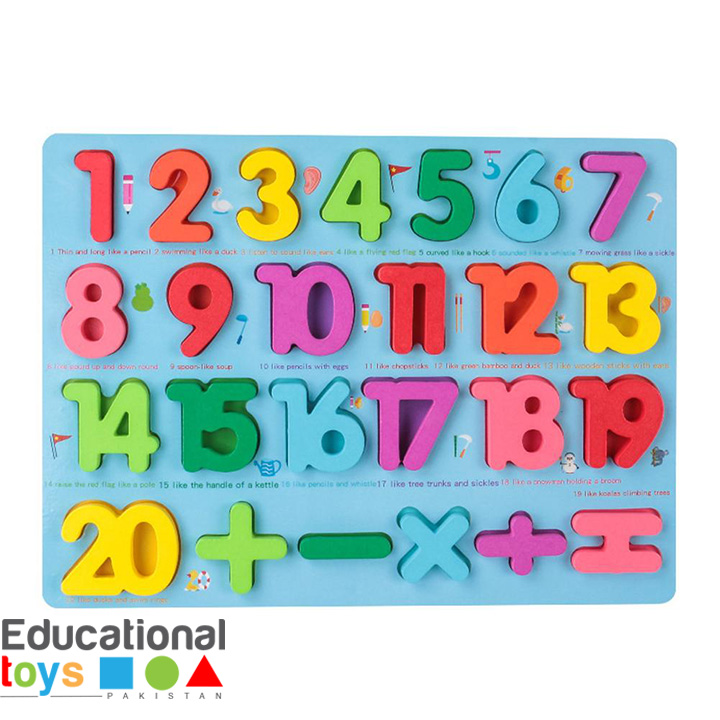 Chunky Number Wooden Puzzle – Blue